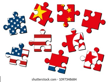 USA, China and North Korea as jig saw puzzle pieces with flags of the United States of America, China and North Korea isolated on white background. Vector illustration