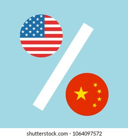 USA and China as percentages. Metaphor of trade war - percents of tariff rates and customs duty. Vector illustration