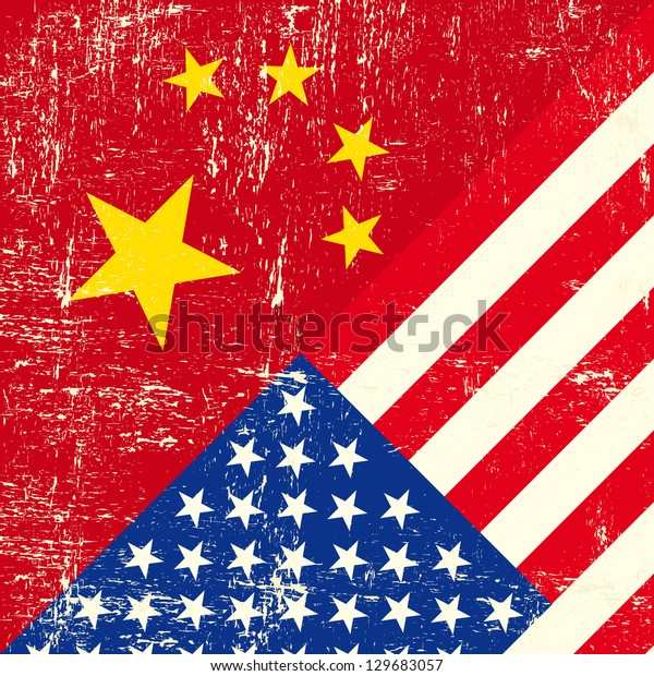 USA and Chinese grunge Flag