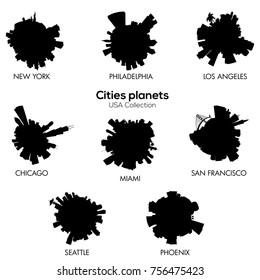 USA cities vector circular skylines c