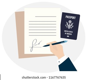 the USA citizenship biometric passport. Travel Immigration Work or Study in America. Business man hand sign fake signature document vector illustration, person hold contract signed  visa application