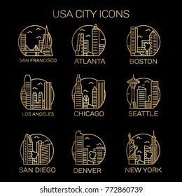 USA City Icons. Vector illustration