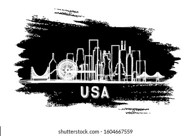 USA City Skyline Silhouette. Hand Drawn Sketch. Vector Illustration. Business Travel and Tourism Concept with Historic Architecture. USA Cityscape with Landmarks.