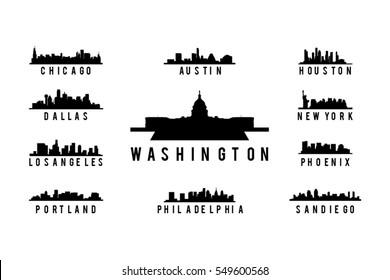 Usa City Skyline Silhouette set vector, America Big city Skyline silhouette vector