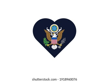 USA coat of arms in heart outline