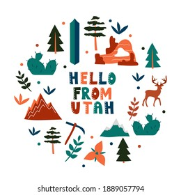 USA collection. Hello from Utah theme. State Symbols round shape card