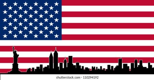 USA Colour Flag New York City Vector Skyline