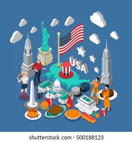 USA concept composition with culture and travel symbols isometric vector illustration