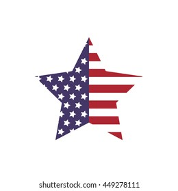 USA concept represented by star shape icon. isolated and flat illustration