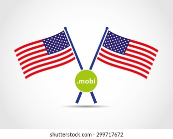 USA Crossed Flags Emblem Mobile