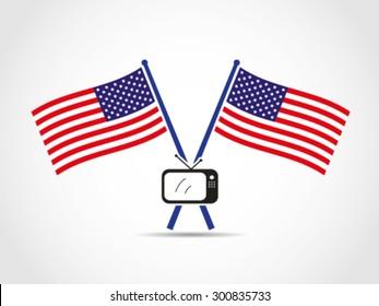 USA Crossed Flags Emblem TV