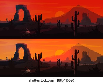 USA desert landscape vector backgrounds with Arizona or Western nature. Mexican saguaro cactuses and Wild West mountains, sunset and sunrise suns, rock and sand roads, bull skulls, red sky and clouds