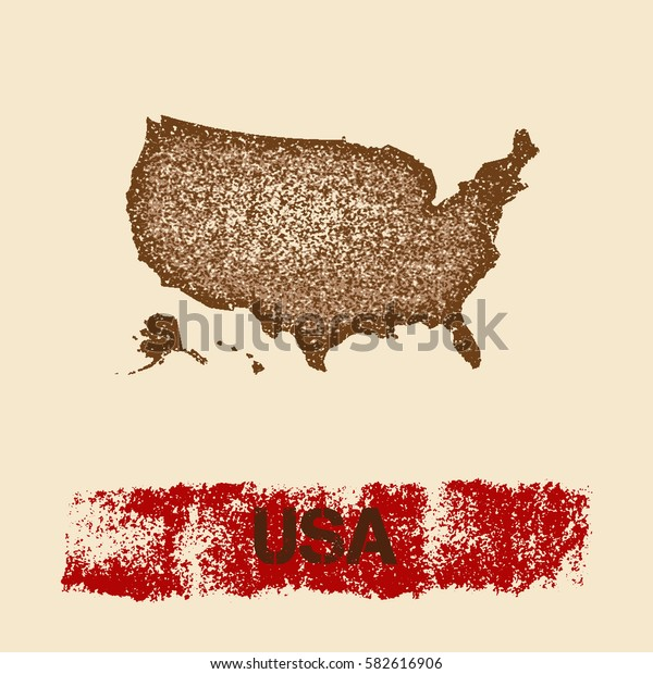 USA distressed map. Grunge patriotic poster with textured USA outline ink stamp and roller paint mark, vector illustration.