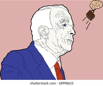 USA, EARTH - 2008 PRESIDENTIAL CAMPAIGN: Presidential Candidate Sen. John McCain's brain has escaped his cranium has left for warmer weather.