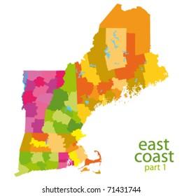 usa east coast vector map