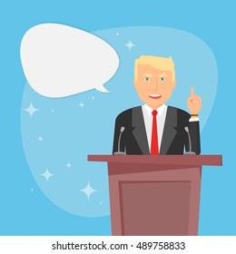 Usa election 2016. Businessman. Senate congress tribune. Donald Trump. Political campaign. President election. Speech bubble. Presidential debate. Republican Party. Presidential candidate. Celebrity
