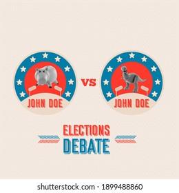 USA elections flag USA election debate 2020 icon- vector