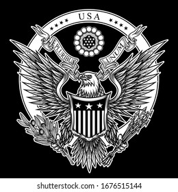 USA emblem. Vector illustration of bald eagle with shield, arrows, ribbon and olive branch in engraving technique. Isolated on black.