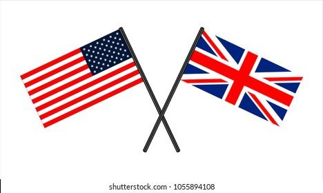 usa and england cross flags