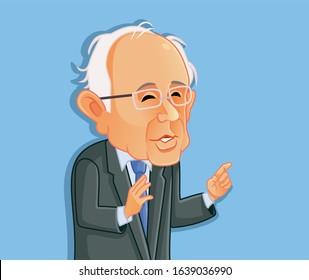 Washington¸ USA, February 8, Bernie Sanders Vector Caricature