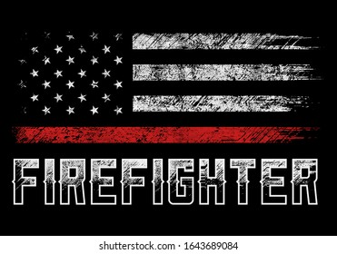 usa firefighter with thin red line grunge vector design