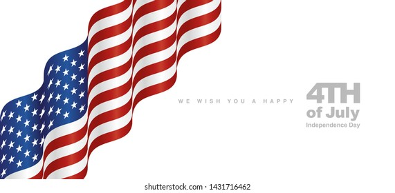 USA flag 4th July Independence Day white landscape background