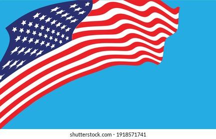 USA flag . American wavy flag . Vector illustration
