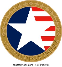 USA flag badge. Wall decoration, icon, wall table, plate pattern, rosette, profile picture is used.