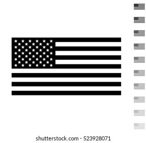 USA flag - black vector icon and ten icons in shades of grey
