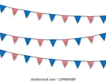 USA flag bunting decoration. Vector isolated object illustration for different national events
