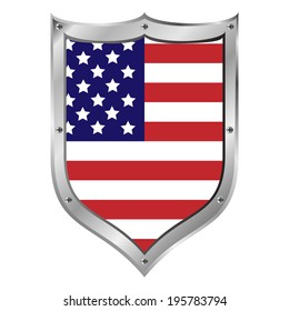 USA flag button on a white background. Vector illustration.