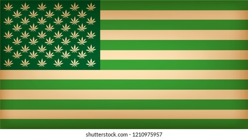 Usa flag with cannabis leafs. The green one.