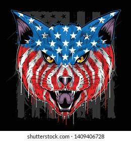 USA FLAG CAT HEAD VECTOR EPS WITH EDITABLE LAYER