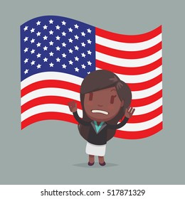 USA Flag & Character vector illustration