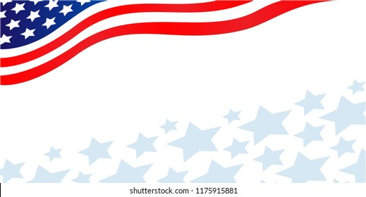 USA flag corner banner with stars.