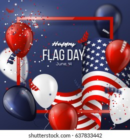 USA flag day holiday design with flag, balloons and confetti in national colors. Celebration dark blue background. Vector illustration.