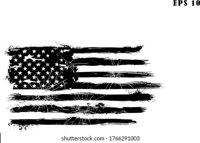 USA Flag. Distressed american bullet flag, patriot, military, transparent background. American Flag bullet holes.