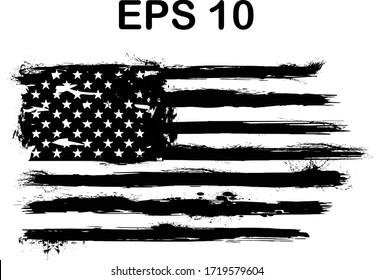 USA Flag. Distressed american flag with splash elements, flag of america, patriot, military flag,