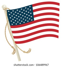 usa flag with flagpole and rope, isolated on white