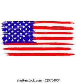 USA flag in a form of brush stroke. Brush stroke style. Vector EPS 10