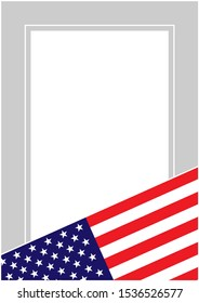 USA flag frame border background with empty space for your text.