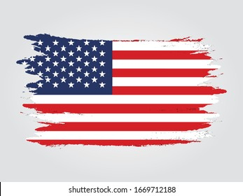 usa flag grunge painted vector