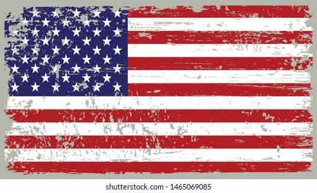 USA flag in grunge style.Old dirty American flag.