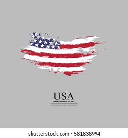 USA flag in grunge style on a gray background.
