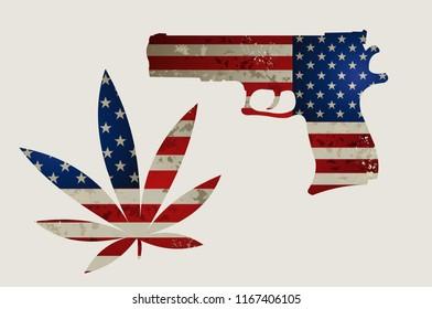 USA flag and Guns