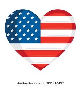 usa flag in heart love
