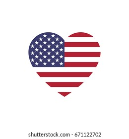 USA flag heart silhouette