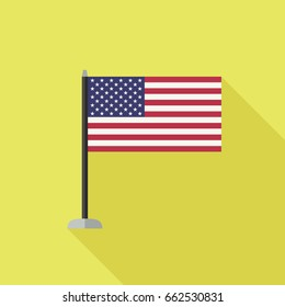 Usa flag icon with long shadow. Simple flag in flat style.