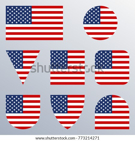 f16bc6f1955 Royalty-free stock vector images ID  773214271. USA flag icon set. American  flags in different shapes. United States button collection. Vector  illustration.