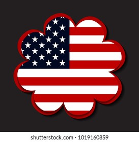 USA flag icon.American flag.Vector illustration.